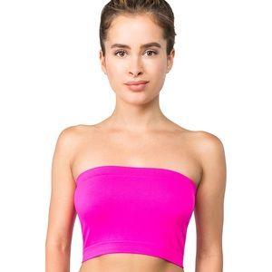 Tops - Seamless Plain Neon Pink Tube Top